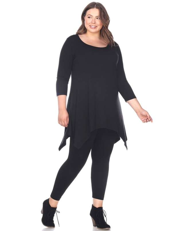 Makayla 3/4 Sleeve Tunic Top - Plus