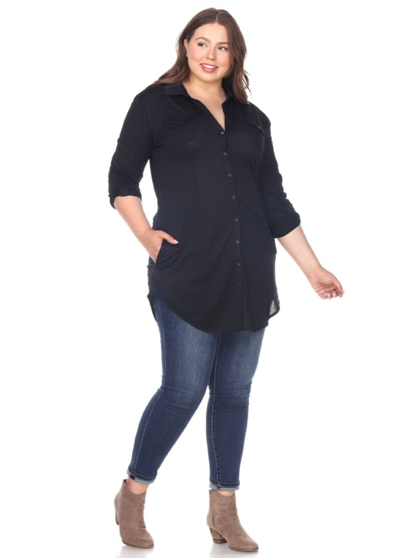 Stretchy Roll-Tab Sleeve Knit Tunic Top - Plus