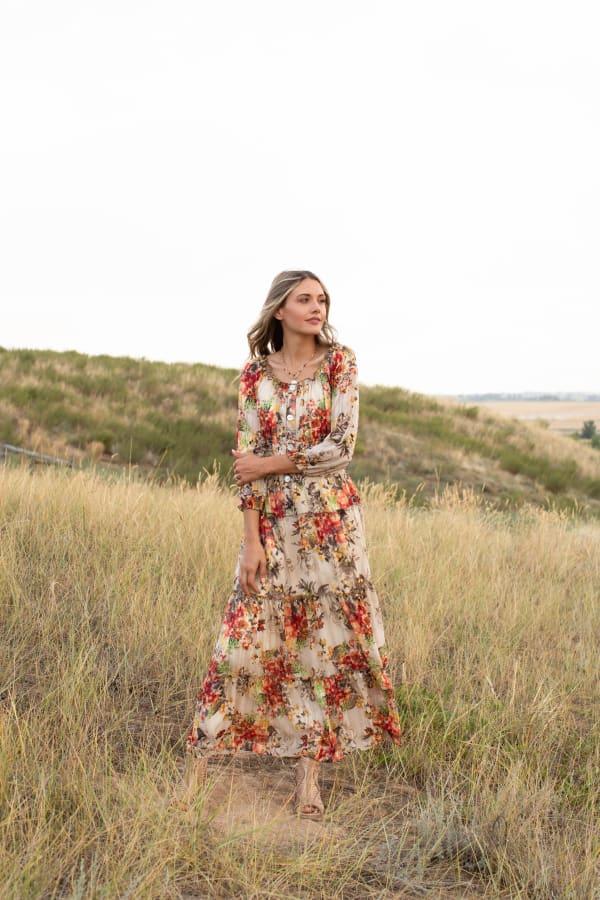 Veronica  Floral  Maxi Peasant Dress - Misses - Tan/coral - Front