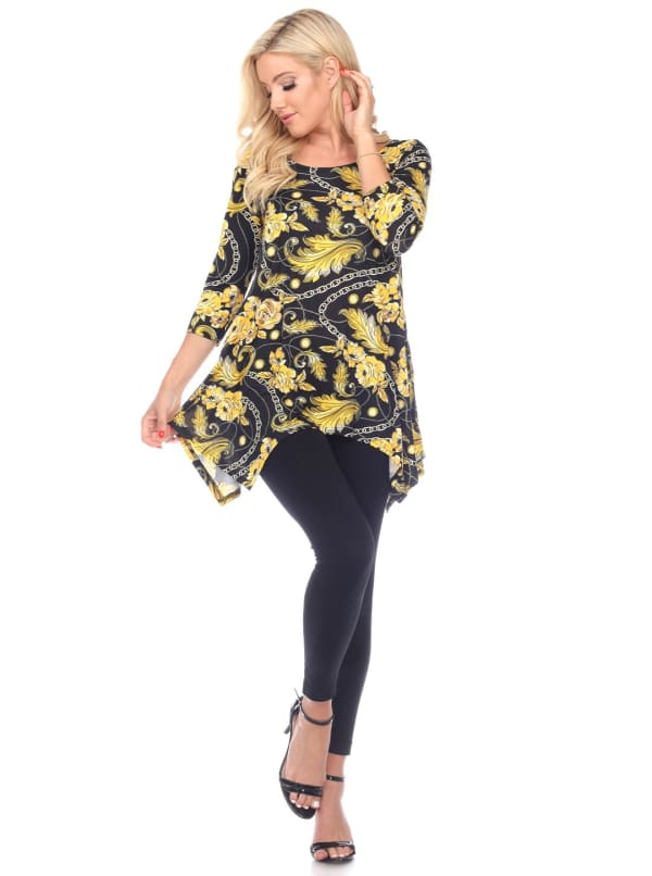 Floral Chain Printed Tunic Top with Pockets