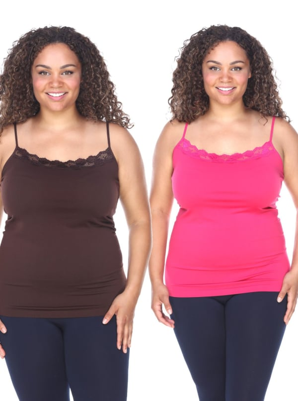 Lace Trim Thin Strap Pack of 2 Tank Tops - Plus