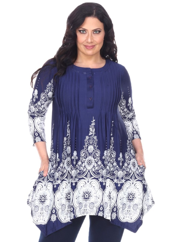 3/4 Sleeve Vibrant Dulce Tunic Top - Plus - Navy / White - Front