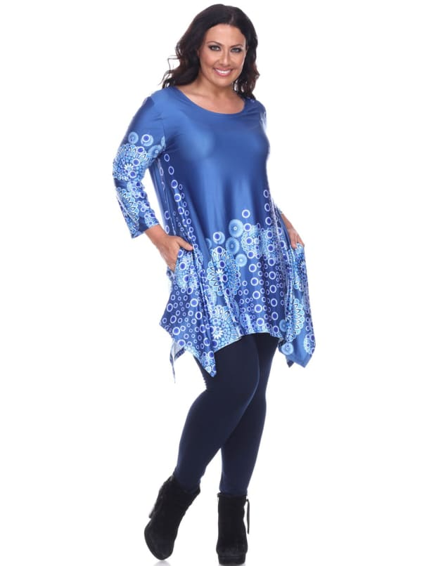 Rella 3/4 Sleeve Tunic Top - Plus - Blue - Front