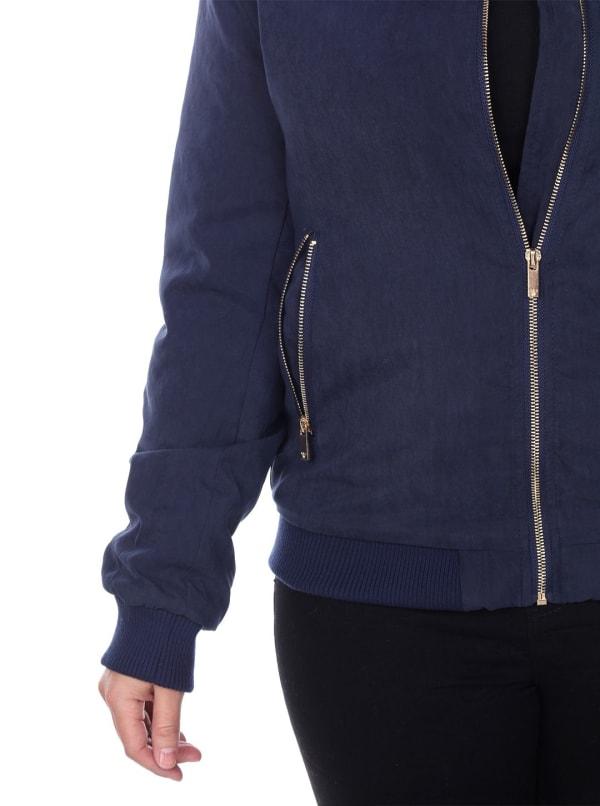 Rib Knit Collar Bomber Jacket - Plus