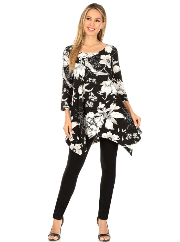 3/4 Sleeve Scoop Neck Floral Tunic Top