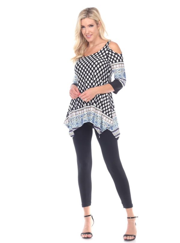 3/4 Sleeve Cold Shoulder Tunic Top - Black / White - Front