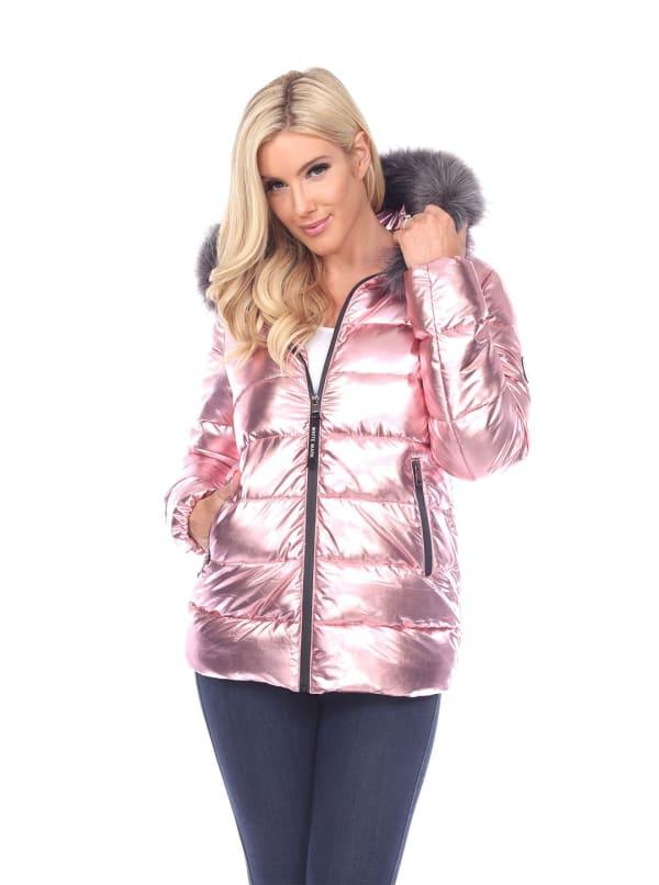Metallic Puffer Hooded Coat