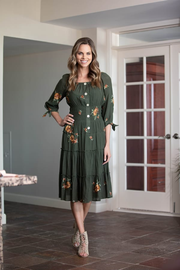 Alexa Embroidered Midi  Peasant Dress - Misses - Dark Olive - Front