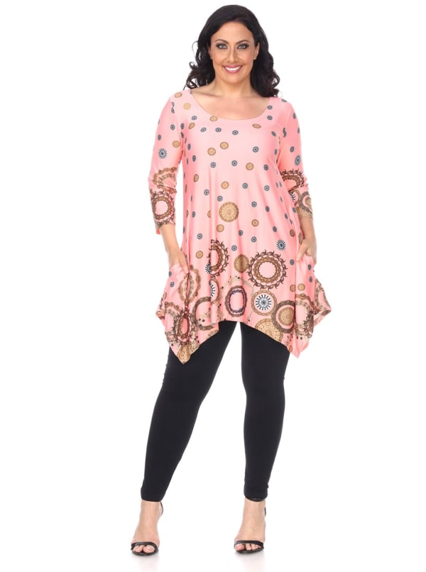 Erie 3/4 Sleeve Tunic Top - Plus - Coral - Front