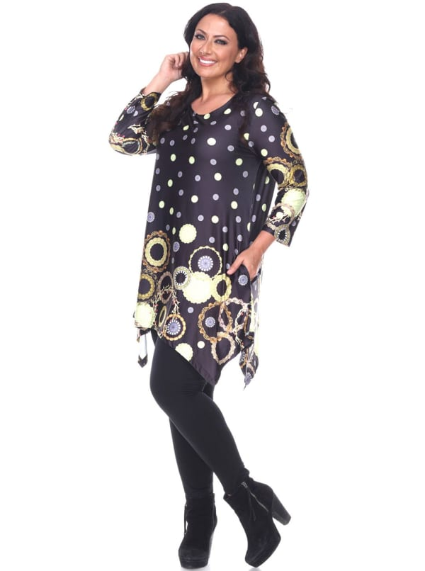 Erie 3/4 Sleeve Tunic Top - Plus - Black - Front