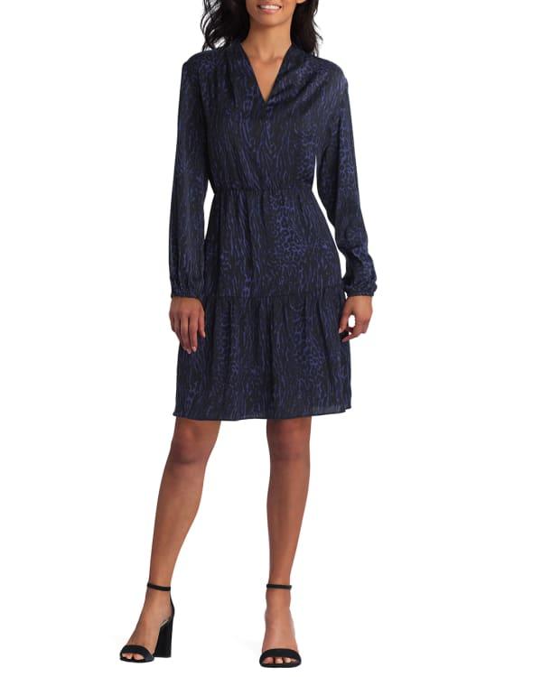 Gigi Parker 3 Quarter Sleeve Tiered Dress - Blended Leopard Eclipse - Front