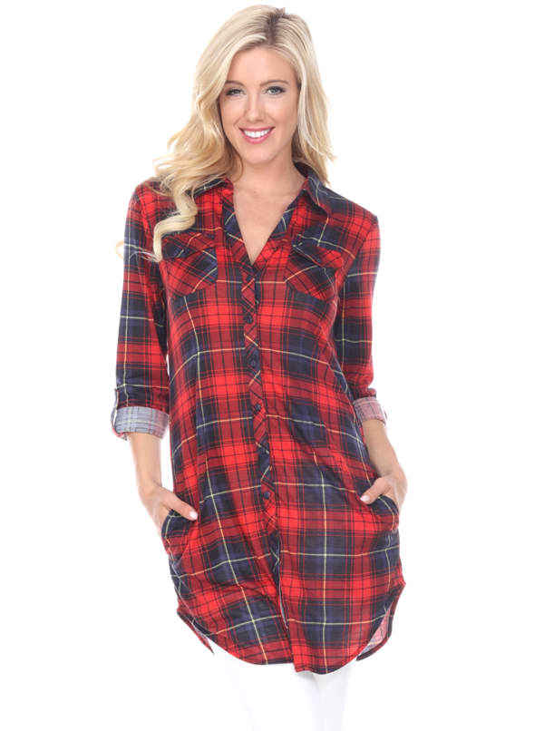 Piper Stretchy Plaid Tunic Top - Red / Black - Front