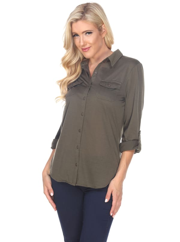 Skylar Stretchy Button Down Top - Olive - Front