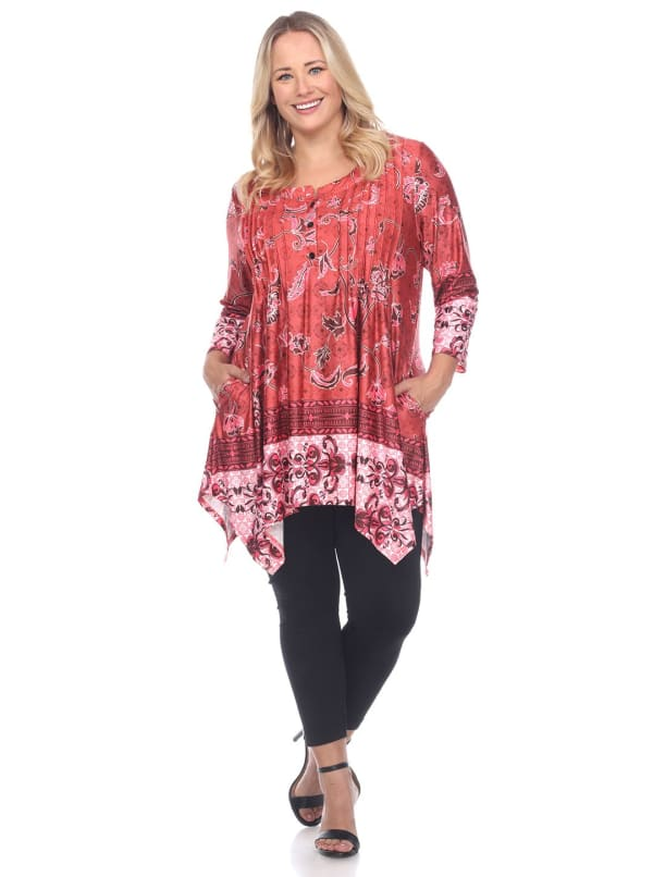 Plus Size Victorian Print Tunic Top with Pockets