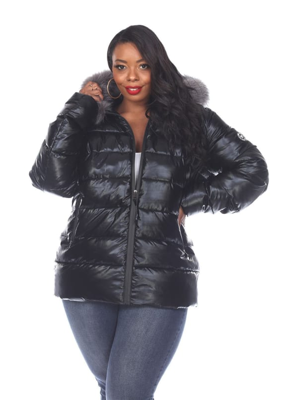Hooded Metallic Puffer Coat - Plus - Black - Front