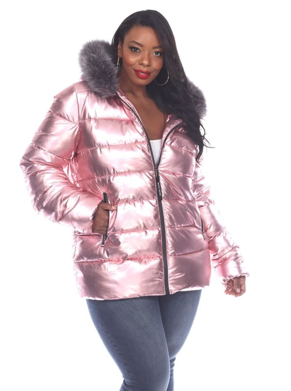 Hooded Metallic Puffer Coat - Plus - Pink - Front