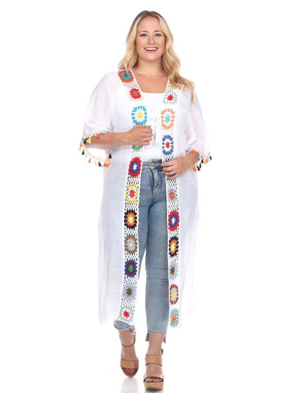 Light Crochet Cover Up Kimono - Plus - White - Front