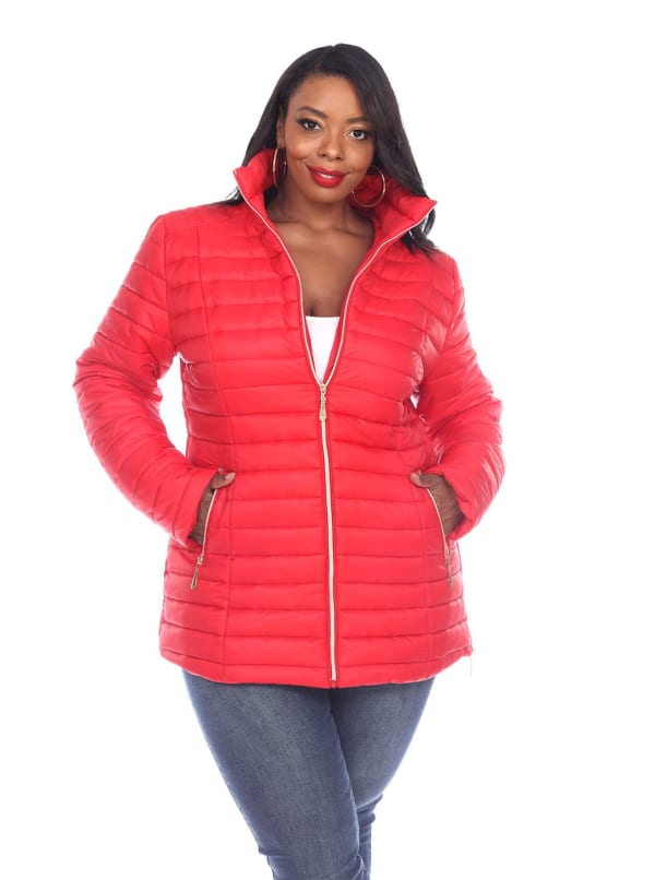 Lightweight Front Zipper Puffer Coat - Plus - Red - Front