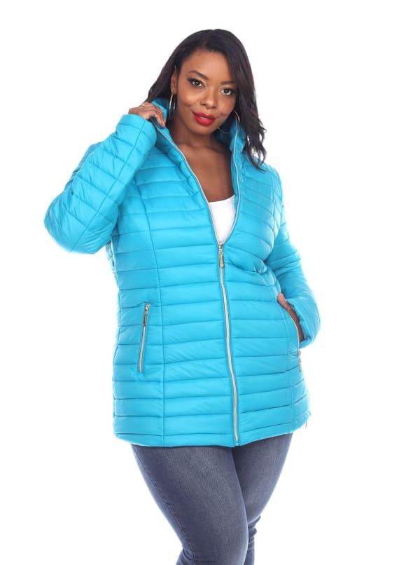 Lightweight Front Zipper Puffer Coat - Plus