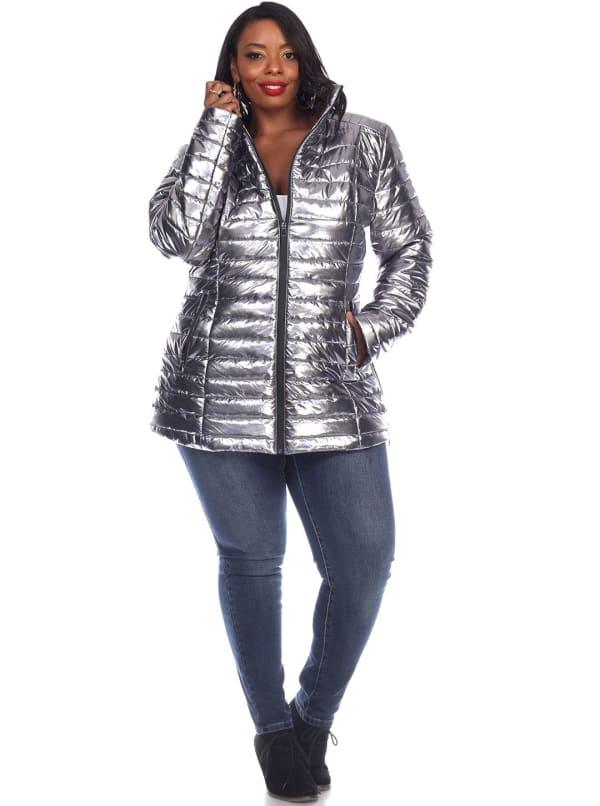 Lightweight Front Zipper Metallic Puffer Coat - Plus