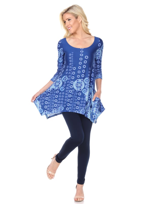 Rella 3/4 Sleeve Round Neck Tunic Top - Blue - Front