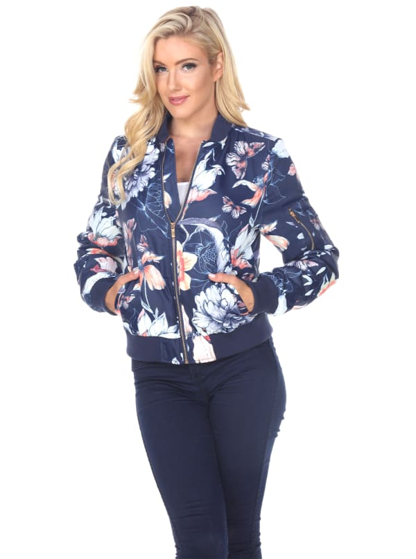 Ribbed Trim Floral Bomber Jacket