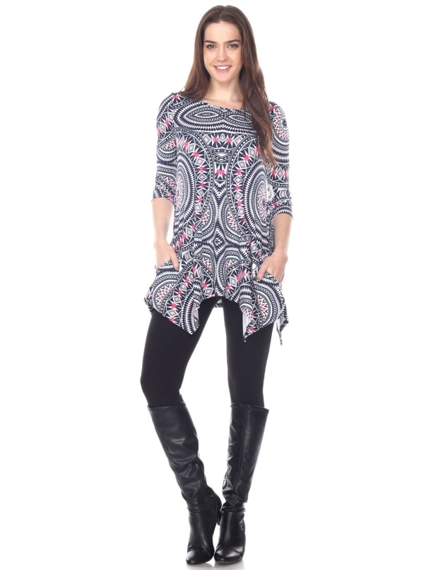 Maji 3/4 Sleeve Drape Tunic Top -Red Geometric - Front