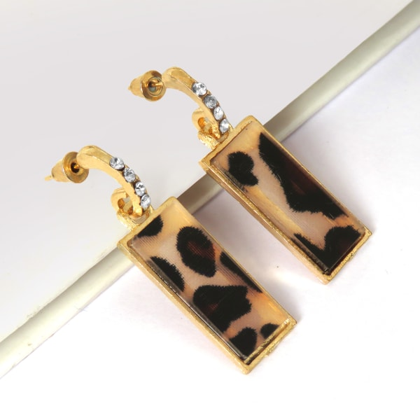 Tortoise Shell Resin Beige Dangle Drop Earrings