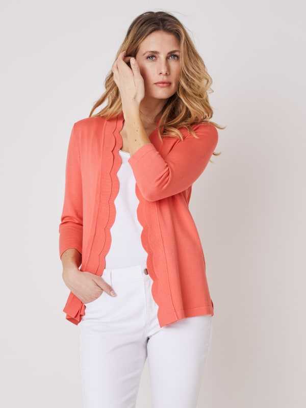 Roz & Ali 3/4 Sleeve Scallop Trim Cardigan - Coral Dusk - Front