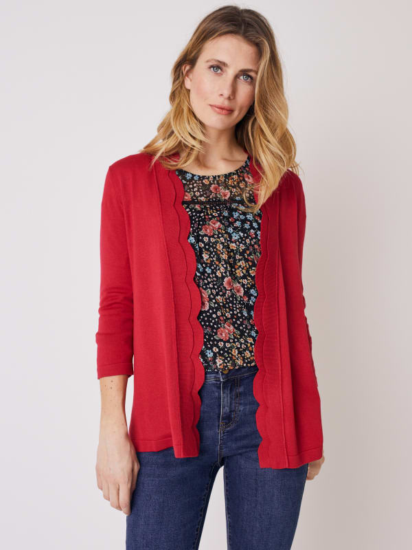 Roz & Ali 3/4 Sleeve Scallop Trim Cardigan - Rose Red - Front
