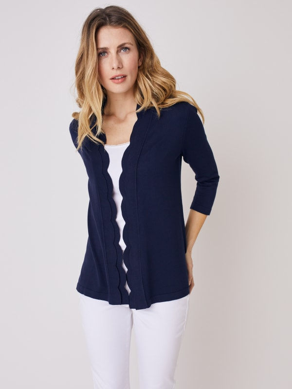Roz & Ali 3/4 Sleeve Scallop Trim Cardigan - Shipshape Navy - Front