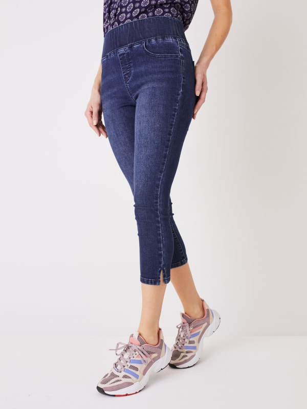 Westport Signature High Rise Pull On Capri With Side Slit - Indigo Wash - Front