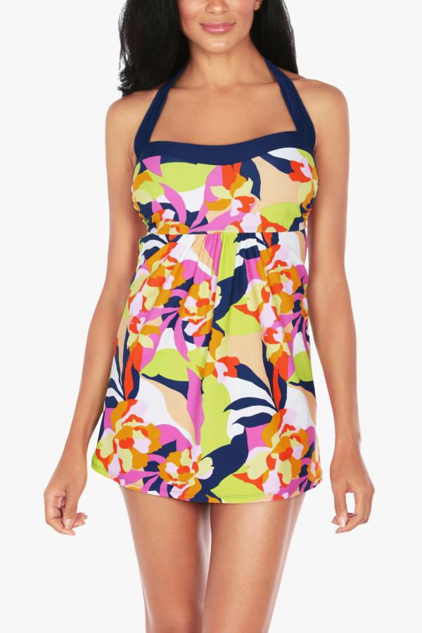 Caribbean Joe Abstract Floral Swimdress