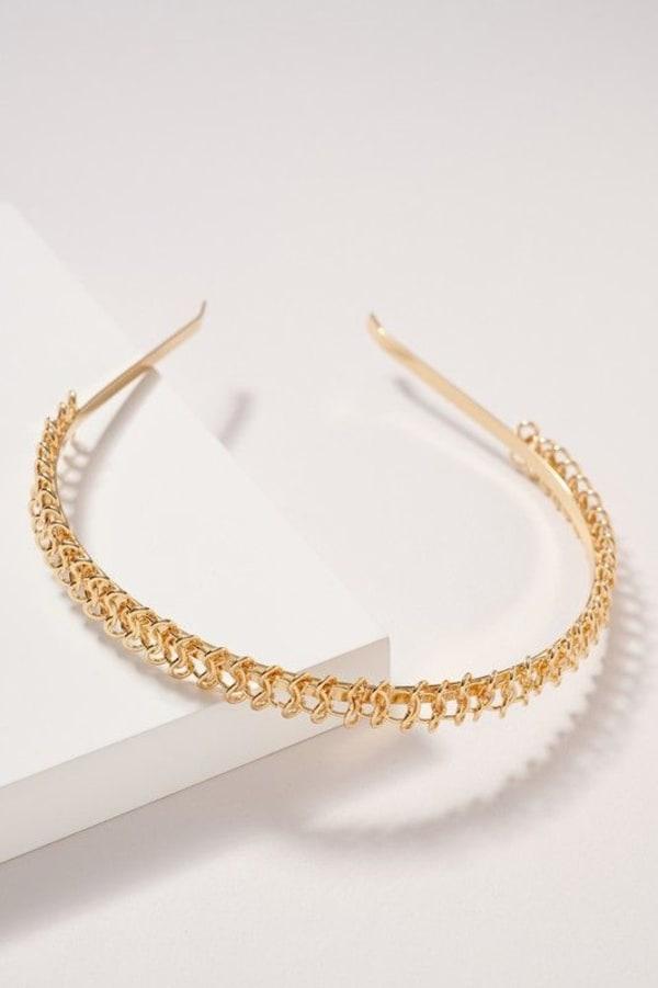 Braided Metal Headband - Gold - Front