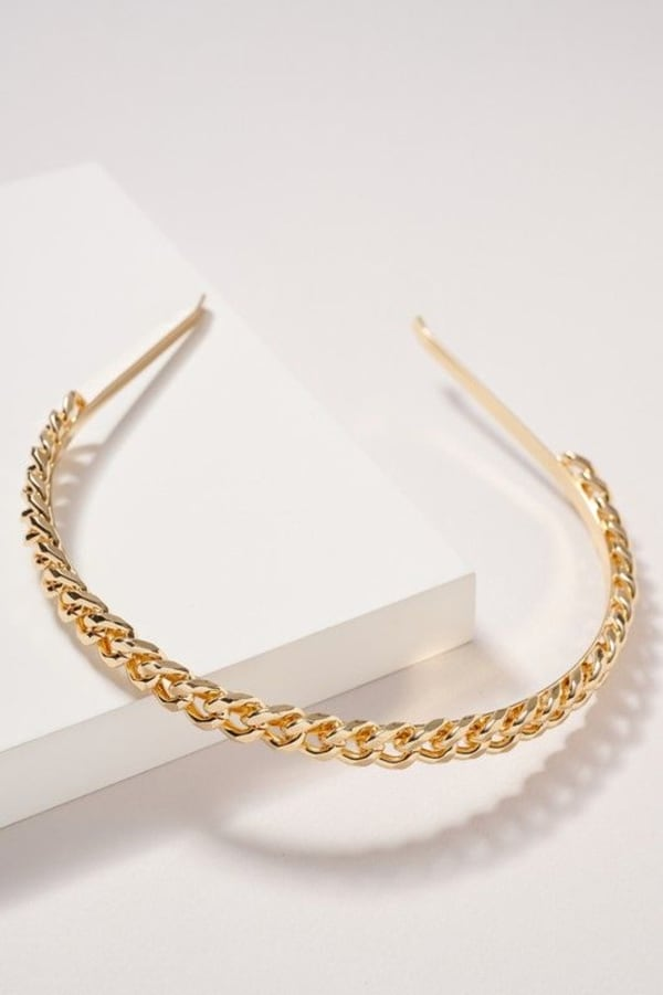 Chain Linked Headband - Gold - Front