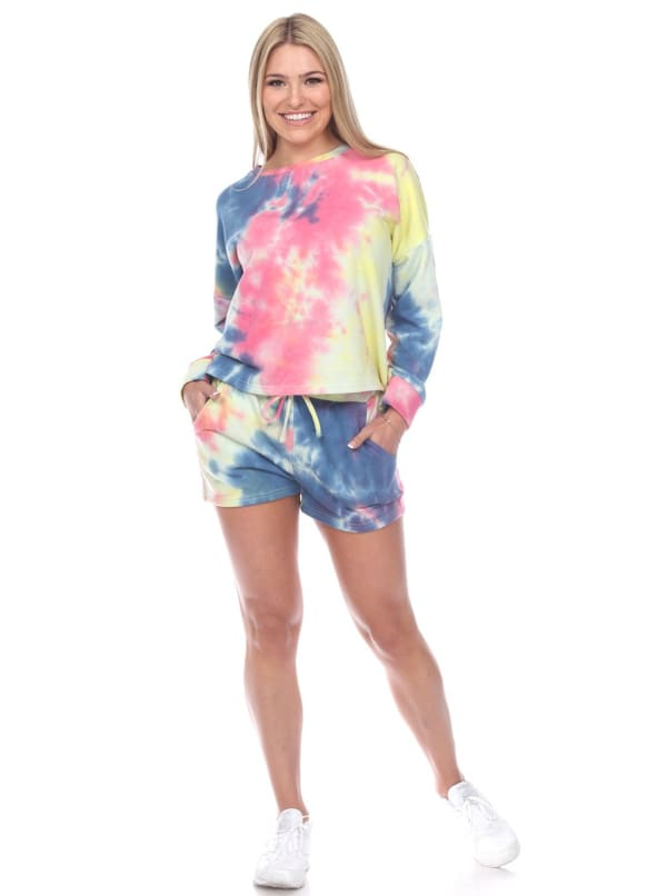 Long Sleeve Tie Dye Lounge Top And Short Set