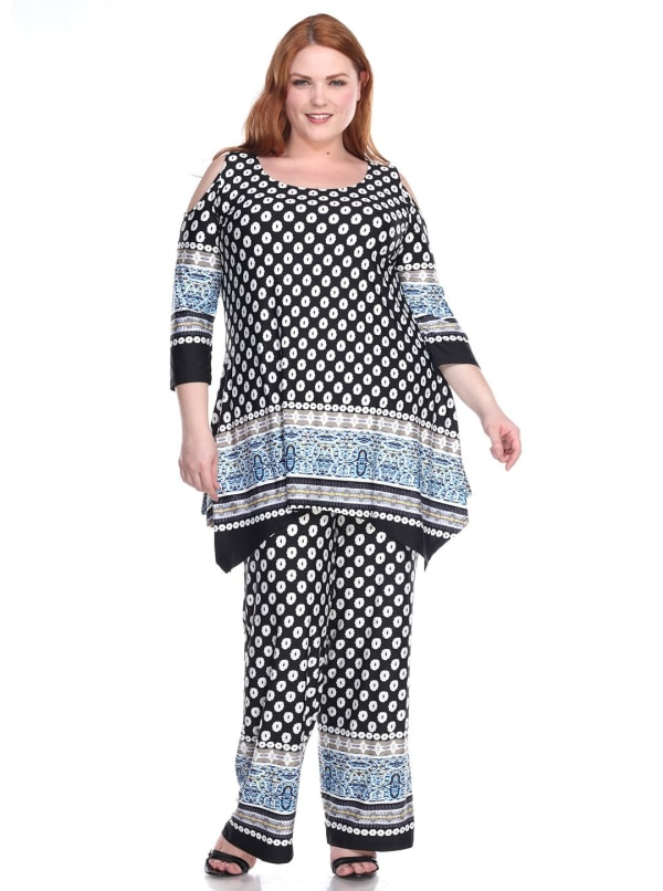 3/4 Sleeve Printed Head to Toe Lounge Set - Plus - Black Dots - Front
