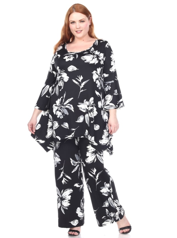Stretchy Head to Toe Printed Full Set - Plus - Navy Flowers - Front