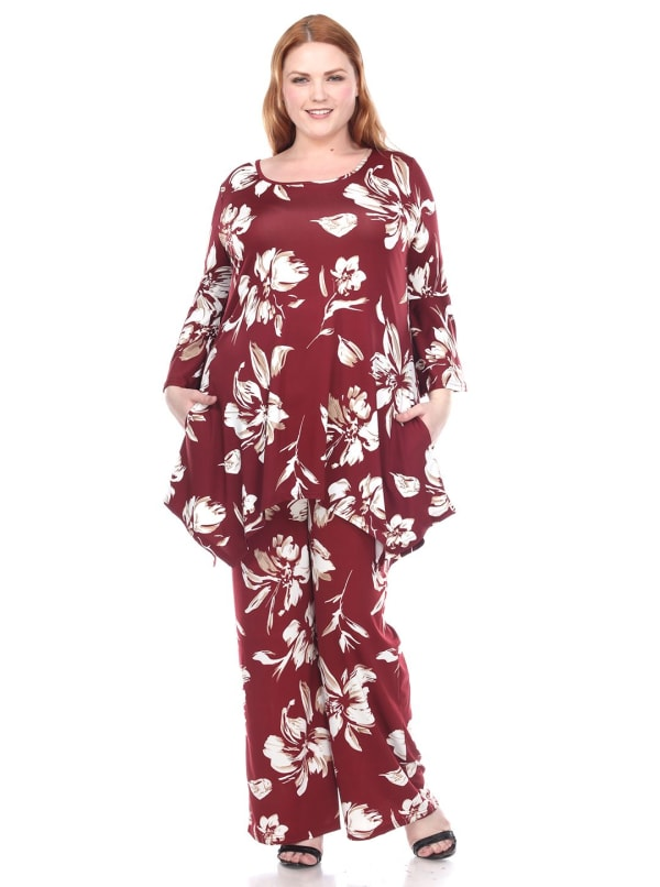 Stretchy Head to Toe Printed Full Set - Plus - Burgundy Flowers - Front