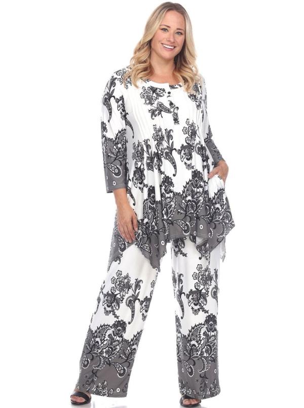 Head to Toe Paisley Printed Palazzo Sleepwear Set - Plus - Beige / Charcoal - Front