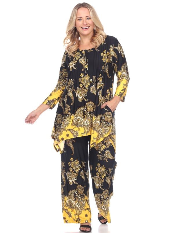 Head to Toe Paisley Printed Palazzo Sleepwear Set - Plus - Black / Gold - Front