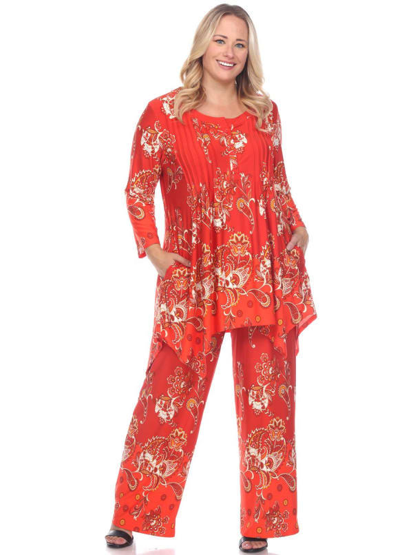 Head to Toe Paisley Printed Palazzo Sleepwear Set - Plus - Red / White - Front