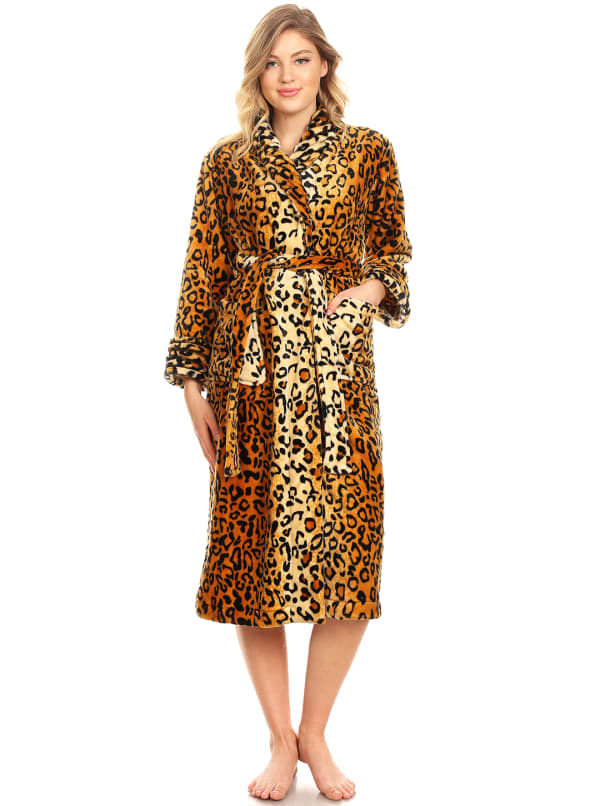 Super Soft Long Lounge Robe - Plus - Brown Cheetah - Front