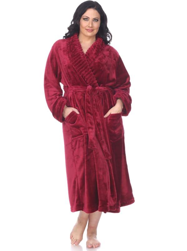 Super Soft Long Lounge Robe - Plus - Burgundy - Front