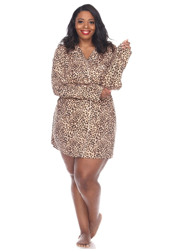 Long Sleeve Button Front Nightgown - Plus - Cheetah - Front