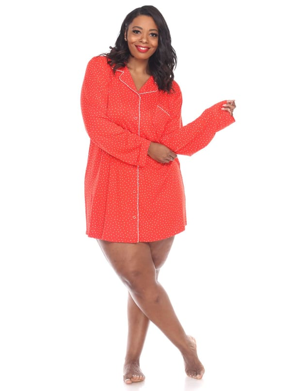 Long Sleeve Button Front Nightgown - Plus