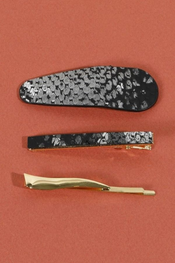Set of 3 Snake Skin Print Leather Hair Clips - Black - Front