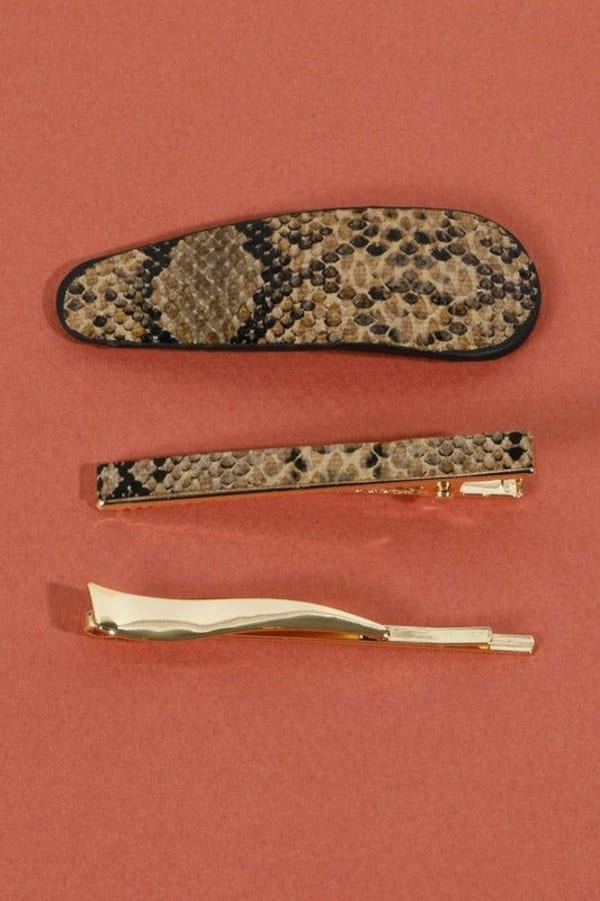 Set of 3 Snake Skin Print Leather Hair Clips