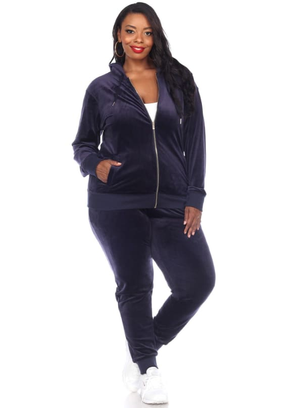 2 Piece Full Zip Closure Velour Tracksuit Set - Plus - Navy - Front