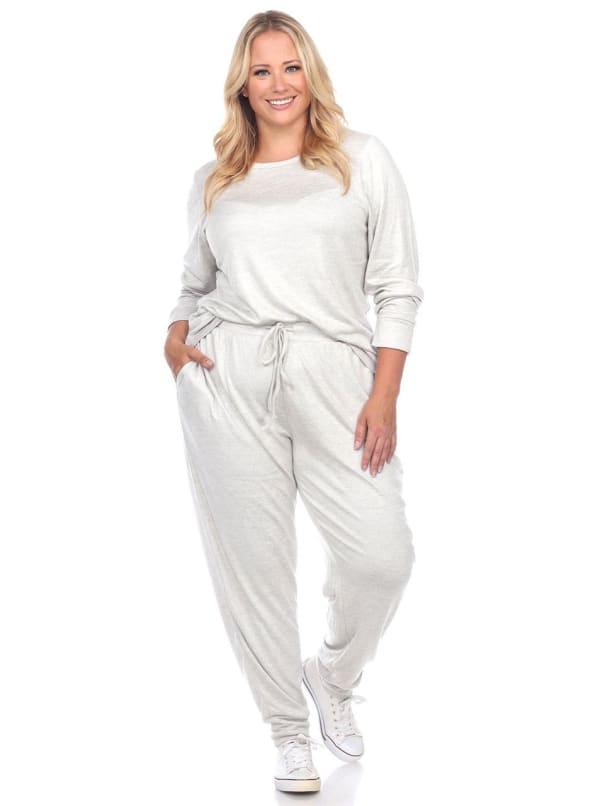 2 Piece Sleepwear Lounge Set - Plus - Heather Grey - Front